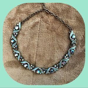 VTG ART Mint Enamel Swirl AB Rhinestone Necklace